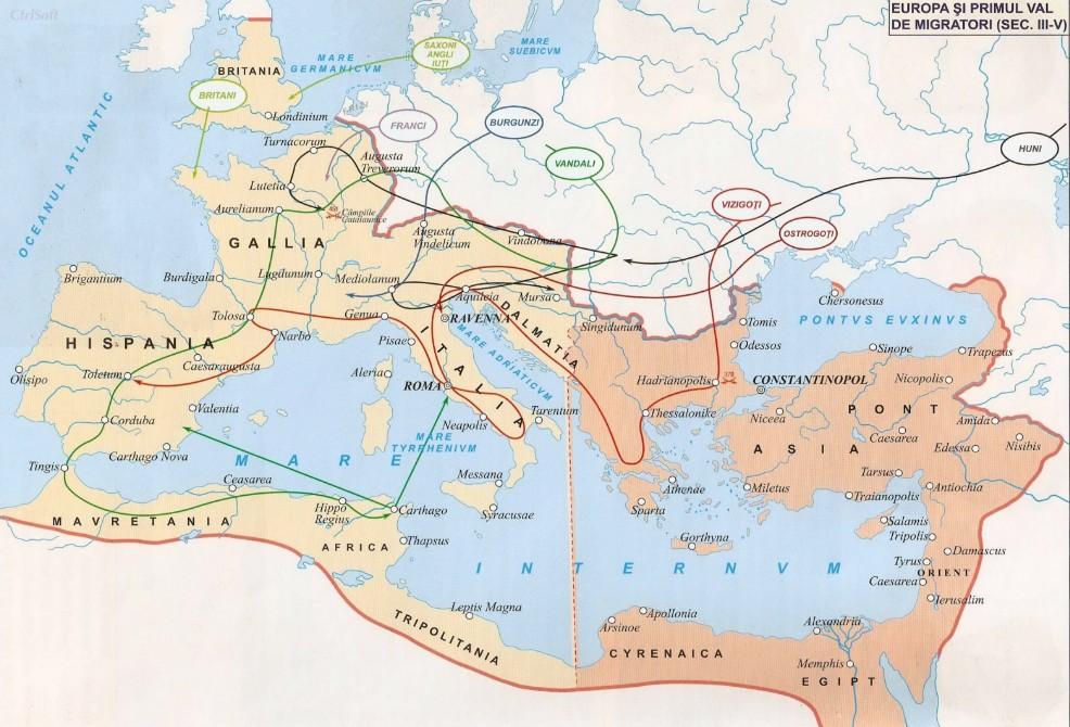 Europa Si Primul Val De Migratori Harta Istorii Regăsite