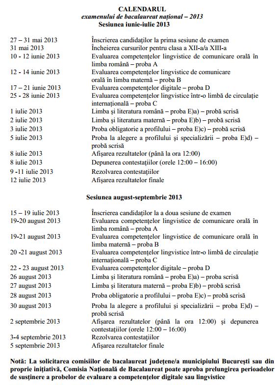 Calendarul examenului de bacalaureat 2013