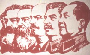 Comunistii Marx, Engels, Lenin, Stalin si Mao - afis chinezesc