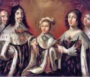 Regele Ludovic XIII, Ana de Austria, fiul lor Ludovic XIV, cardinalul Richelieu si ducesa de Chevreuse