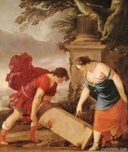 Tezeu ridicand bolovanul pentru a lua sandalele si sabia