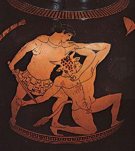 Tezeu ucigand Minotaurul