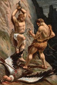 Hercule eliberandu-l pe Prometeu, dupa ce a ucis vulturul