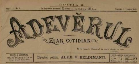 ziarul Adevarul 1888