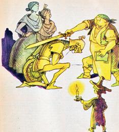 Don Quijote investit cavaler de hangiu